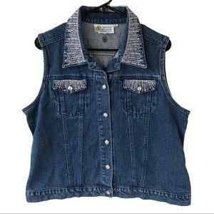 VTG Christine Alexander Embellished Denim Vest XL